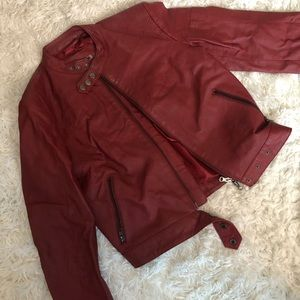 Red leather jacket